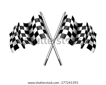 Checkered, Chequered Flags Motor Racing - Raster Version - stock photo