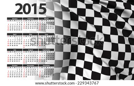 Checkered flag Calendar 2015 - stock photo