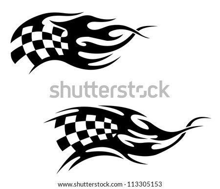 Checkered flag with black flames as a racing or motocross tattoo, such a logo template. Vector version also available in gallery - stock photo