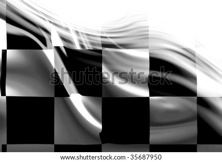 Checkered flag with some smooth folds in it - stock photo