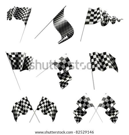 Checkered Flags set, bitmap copy - stock photo
