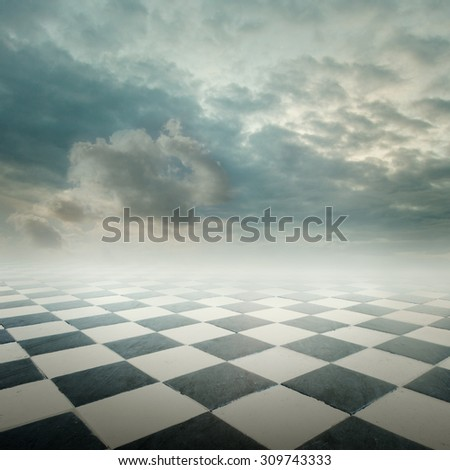 checkered floor landscape with cloudy sky - stock photo