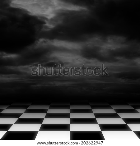 Checkered floor on dark cloudy sky background - stock photo