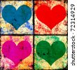 Checkered hearts background - stock photo