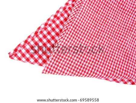 checkered napkin isolated - stock photo