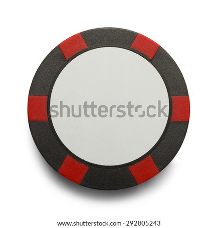Checkered Poker Chip with Copy Space Isolaed on White Background. - stock photo