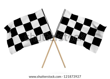 Checkered Racing Flags on a white background - stock photo