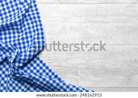 checkered tablecloth blue - stock photo