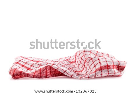 Checkered tablecloth isolated on white background - stock photo