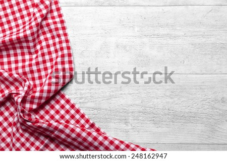 checkered tablecloth red - stock photo