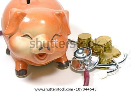 Checking The Saving Money Concept on White Background. - stock photo