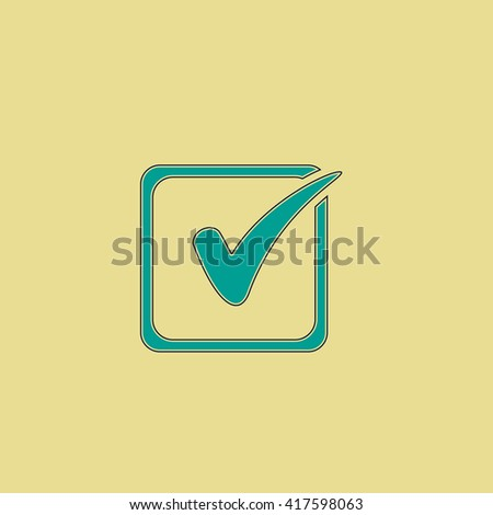 Checklist button - check mark in box sign. Grren simple flat symbol with black stroke over yellow background - stock photo