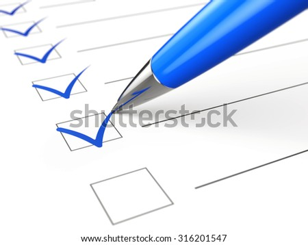 Checklist concept - checklist, paper and pen - stock photo