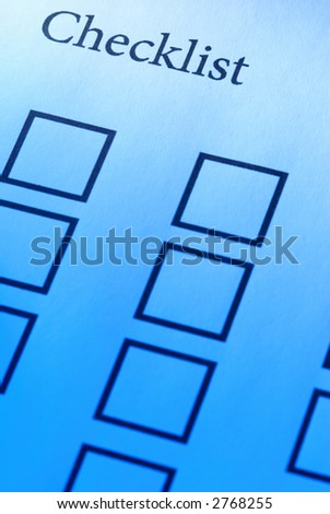Checklist (focus point on the Checklist(word),special blue toned photo f/x) - stock photo