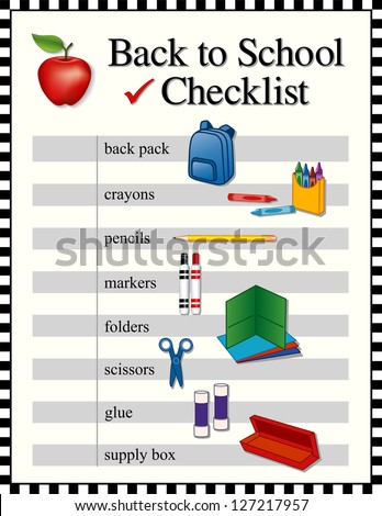 Checklist for back to school supplies. Backpack, crayons, pencils, markers, folders, scissors, glue sticks, supply box, big red apple for the teacher. Black and white check frame. - stock photo