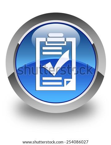 Checklist icon glossy blue round button - stock photo