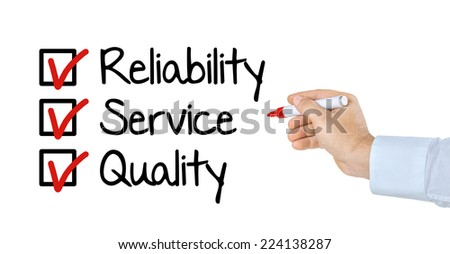 Checklist - Reliability Service and Quality - stock photo