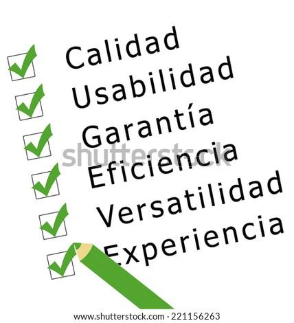 Checklist survey in green color on quality, usability, warranty, efficiency, versatility and experience (calidad, usabilidad, garantia, eficiencia, versatibilidad, experiencia in spanish language) - stock photo