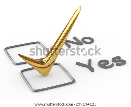 Checklist with gold check isolated on white - stock photo