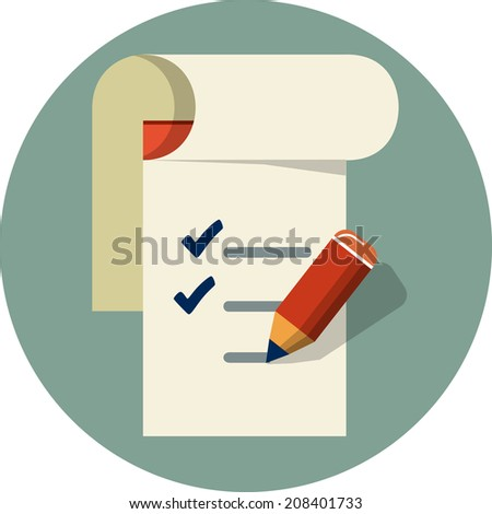 Checklist with pencil - stock photo