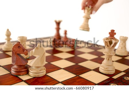 Checkmate: focus on the right spot of the fight - stock photo