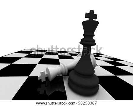Checkmate. The black king win. High quality 3d render. - stock photo
