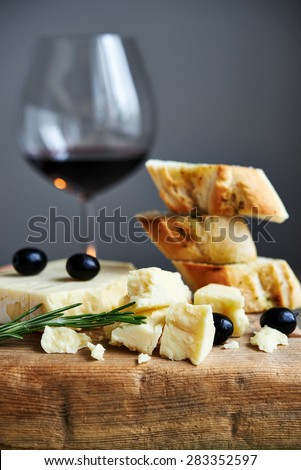 cheddar cheese and red wine - stock photo