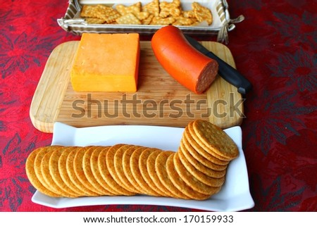Cheddar cheese appetizer background - stock photo