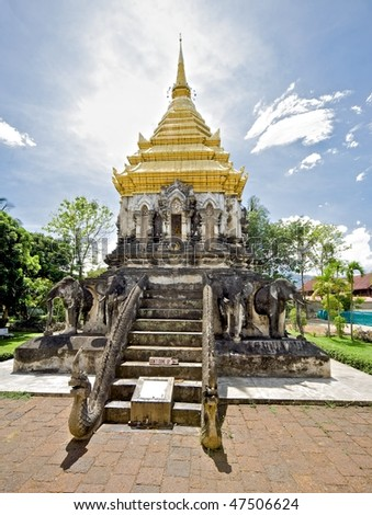 Chedi Wat Chiang Man temple in Chiang Mai, Thailand - stock photo