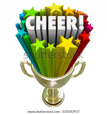 Cheer word in gold trophy with stars to illustrate winning award or prize for best or top performance of a cheerleading squad or team at final national or state competition - stock photo