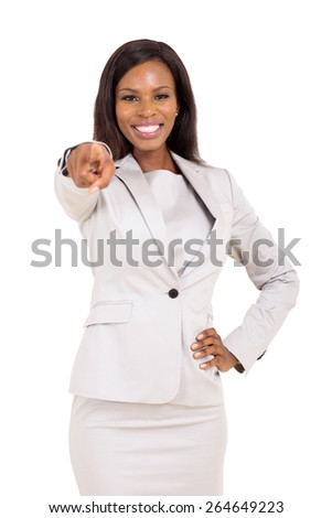 cheerful african american woman pointing at the camera on white background - stock photo