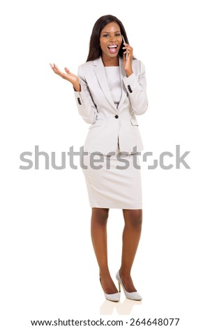 cheerful african business executive making a phone call isolated on white - stock photo