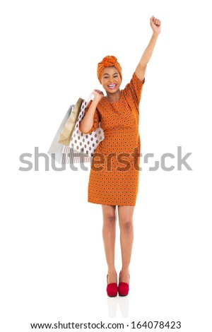 cheerful african woman shopping isolated on white - stock photo