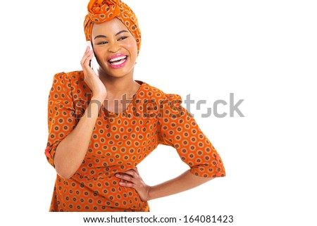 cheerful african woman talking on smart phone isolated on white - stock photo