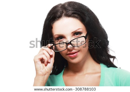 Cheerful and Confident Woman Wearing Eye Glasses - stock photo