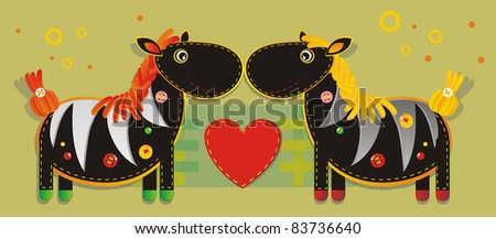 Cheerful applique fabric with two zebras - stock photo