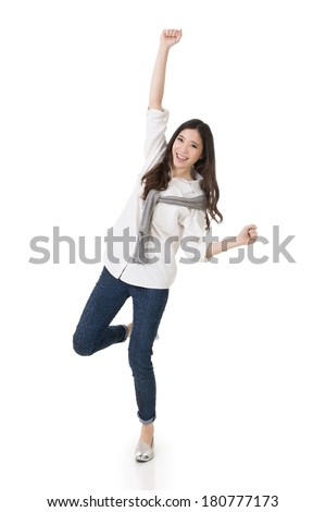 Cheerful Asian woman, full length portrait isolated on white background. - stock photo