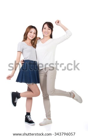 Cheerful Asian women, full length portrait. - stock photo