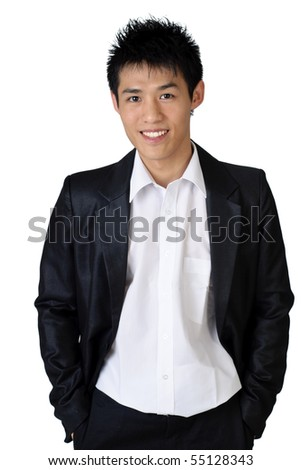 Cheerful Asian young businessman on white background. - stock photo
