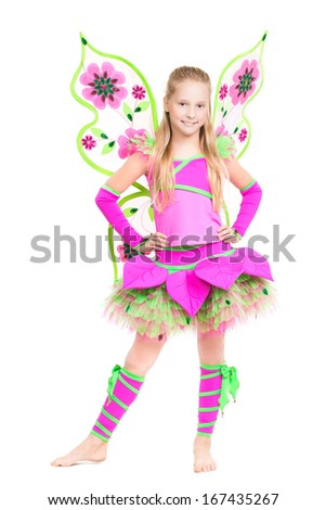 Cheerful barefooted girl posing in fairy costume. Isolated on white - stock photo
