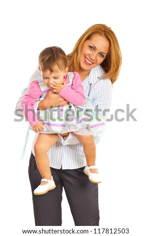 Cheerful beautiful mother playing with her toddler girl isolated on white background - stock photo