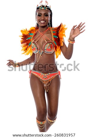 Cheerful beautiful woman samba dancer - stock photo