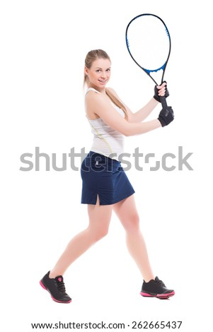Cheerful blond woman posing with tennis racket. Isolated on white - stock photo