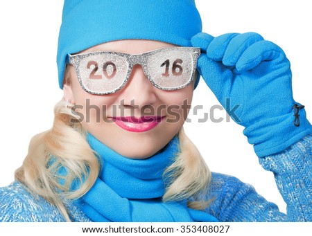 Cheerful blonde in a sports cap with the inscription on the glasses 2016 - stock photo