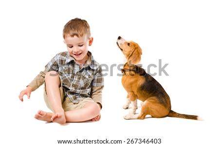 Cheerful boy sitting with beagle dog isolated on white background - stock photo
