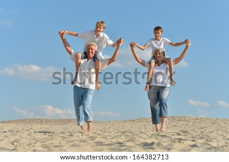 Cheerful boys with their grandparents waking on the sand in the summer - stock photo