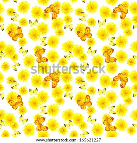 Cheerful bright seamless backdrop with dandelion flowers and butterflies - stock photo