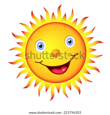 Cheerful bright sun with a big smile and blue eyes. - stock photo