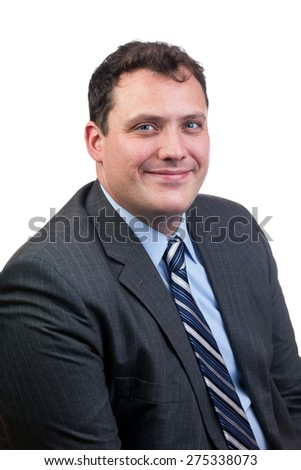 Cheerful business man in a black suit isolated over a white background. - stock photo