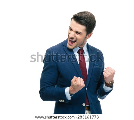 Cheerful businessman celebrating his success isolated on a white background - stock photo